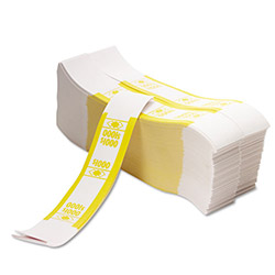 PM Company Self Adhesive White/Yellow Currency Bands, $1000 Value, 1000 Bands per Pack