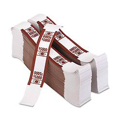 PM Company Self-Adhesive White/Brown Currency Bands, $5000 Value