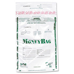 PM Company Biodegradable Plastic Money Bags, Tamper Evident, 15 1/4x11 3/4, Clear, 50/Pack