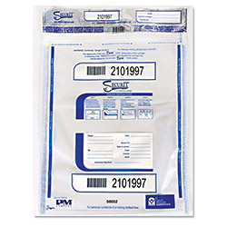 PM Company Triple Protection Tamper-Evident Deposit Bags, 20 x 28, Clear, 100/Pack