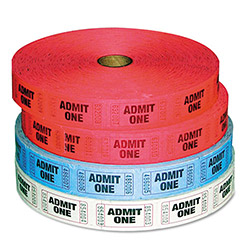 Generations Consumer Admit-One Ticket Multi-Pack, 4 Rolls, 2 Red, 1 Blue, 1 White, 2000/Roll