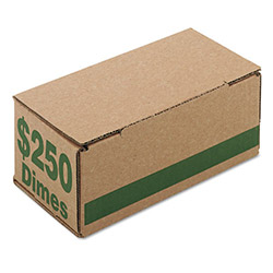 PM Company Corrugated Coin Storage/Shipping Boxes for 2500 Dimes/Box, Green, 50 Boxes/Ctn