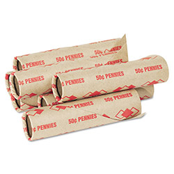 PM Company Preformed Paper Tubular Coin Wrappers for 50 Pennies, Red, 1000/Carton