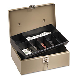 PM Company Lockn Latch Steel Cash Box, Pebble Beige