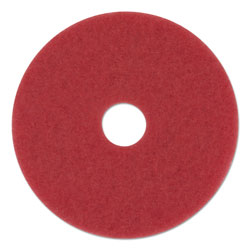 "Boardwalk Standard 12"" Diameter Buffing Floor Pads, Red, 5/Carton"