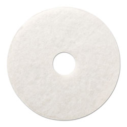 "Boardwalk Standard 12"" Diameter Polishing Floor Pads, White, 5/Carton"