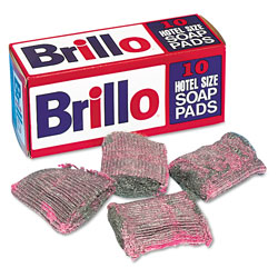 Brillo® Steel Wool Soap Pad, 10/Box