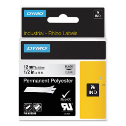 "Dymo Rhino Permanent Vinyl Industrial Label Tape, 1/2"" x 18 ft, Clear/Black Print"