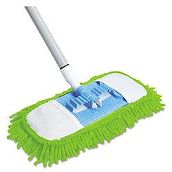 "Quickie Microfiber Dust Mop, 48"" Steel Handle, Green, Each"