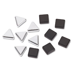 Quartet Silver Triangle & Metallic Black Square Magnets, 6 Each Color, 12 Magnets/Pack