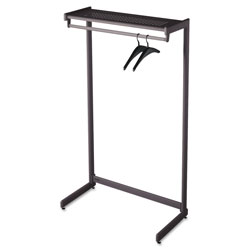 Quartet SingleSided OneShelf Steel Garment Rack, 48w x 181/2d x 611/2h, Black