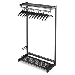 Quartet Single Sided 2Shelf Steel Garment Rack, 12 Hangers, 48wx18-1/2dx61-1/2h, Black