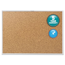 Quartet Cork Bulletin Board with Anodized Aluminum Frame, 36w x 24h
