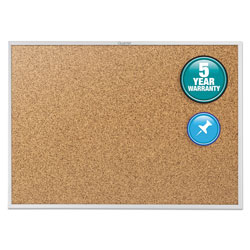 Quartet Cork Bulletin Board with Anodized Aluminum Frame, 60w x 36h