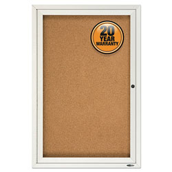 Quartet Enclosed Indoor Cork Message Board, One Door, Aluminum Frame, 24w x 36h