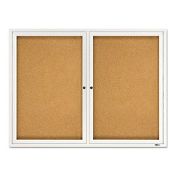 Quartet Enclosed Indoor Cork Message Board, Two Doors, Aluminum Frame, 48w x 36h
