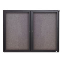 Quartet Gray Fabric/Cork Bulletin Board, 2 Acrylic Doors, Graphite Frame, 48w x 36h