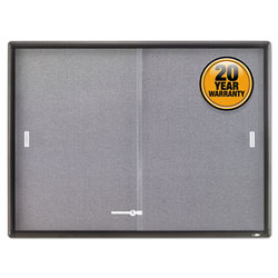 Quartet Gray Fabric/Cork Bulletin Board, Sliding Glass Doors, Graphite Frame, 48wx36h