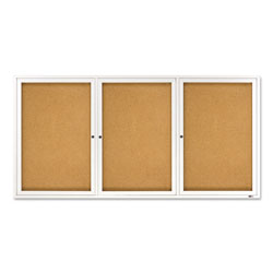 Quartet Enclosed Indoor Cork Message Board, Three Doors, Aluminum Frame, 72w x 36h