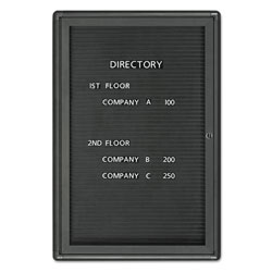 Quartet 1 Door Enclosed Magnetic Message Directory, 24w x 36h, Black, Graphite Frame