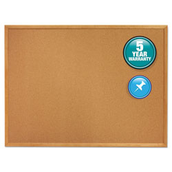 Quartet Cork Bulletin Board with Oak Finish Frame, 24w x 18h, Natural Lacquer Finish
