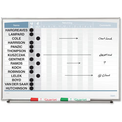 "Quartet 33704 Magnetic Board, 15 Names, 23"" x 16"", Aluminum"