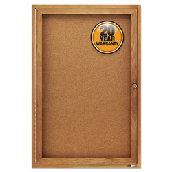 Quartet Enclosed Indoor Cork Bulletin Board with Hinged Doors, Solid Oak Frame
