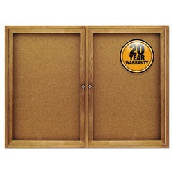 Quartet Enclosed Indoor Cork Bulletin Board with Hinged Doors, Solid Oak Frame, 48wx36h