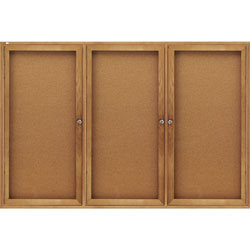 Quartet Enclosed Indoor Cork Bulletin Board with Hinged Doors, Solid Oak Frame, 72wx48h