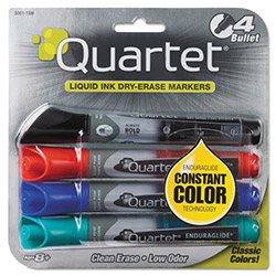 Quartet Enduraglide Dry Erase Marker, Bullet Tip, Four Color Set