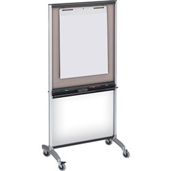 Quartet 3 In 1 Presentation Easel with Casters, Silver Metal Frame