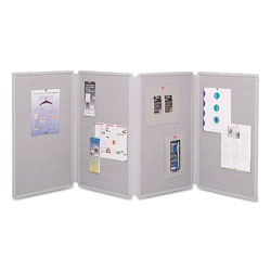 Quartet Four Panel Tabletop Display Presentation Board, 72w x 30h, Light Gray