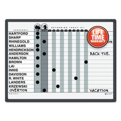 Quartet Magnetic Employee In/Out Board System, 15 Name Cap., 24x18, Gray, Black Frame