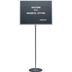 Quartet Adjustable Height Single Pedestal Magnetic Letter Board, 20 x 16, Gray/Chrome
