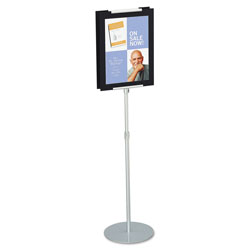"Quartet Adjustable Sign Stand with 44"" to 73"" Telescoping Metal Pole, Silver"