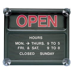 Quartet Open/Closed Changeable Message Sign with Characters, 14 3/8w x 12 3/8h, Black
