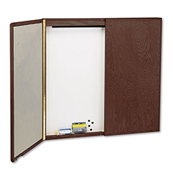 "Quartet Wood Conference Cabinet with Screen, Dry Erase Board, 48""sq., Mahogany"