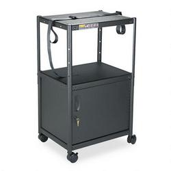 Quartet Five in One Adjustable Height AV Cart with Cabinet, 24w x 18d, Graphite Finish