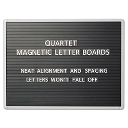 Quartet Magnetic Wall Mount Letter Board, 24wx18h, Black, Gray Aluminum Frame