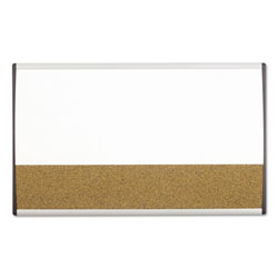 Quartet Magnetic Dry Erase/Cork Board, Painted Steel, 18 x 30, White/Aluminum Frame