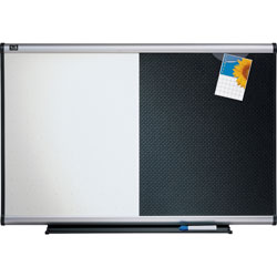 Quartet Dry Erase/Bulletin Board, Embossed Foam, 36 x 24, Black/White, Aluminum Frame