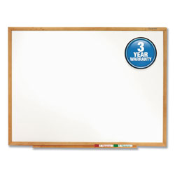 Quartet Standard Dry-Erase Board, Melamine, 72 x 48, White, Oak Finish Wood Frame
