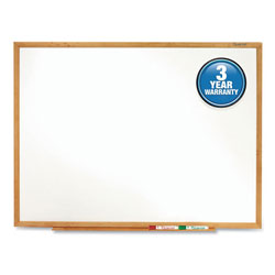 Quartet Standard Dry-Erase Board, Melamine, 9 x 48, White, Oak Finish Wood Frame
