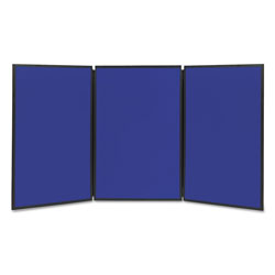 Quartet Showit! Three-Panel Display System, 72W x 36H, Reversible Blue/Gray