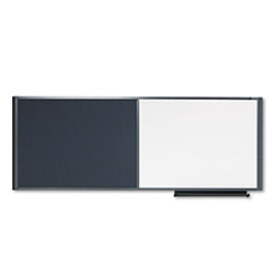 Quartet Workstation Bulletin Board, 36x18, Gray Fabric, Graphite Frame