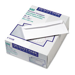 Quality Park Embossed Envelopes, White, #10, 4 1/8 x 9 1/2, 500/Box