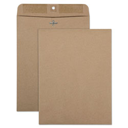 Quality Park 100% Recycled Brown Kraft Clasp Envelope, 9 x 12, Light Brown, 100/Box