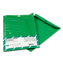 Quality Park Fashion Color Clasp Envelopes, Green, 9 x 12, 10/Pack