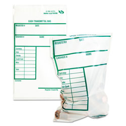 Quality Park Clear Poly Cash Transmittal Bags with Information Block, 6w x 9h, 100/Pack