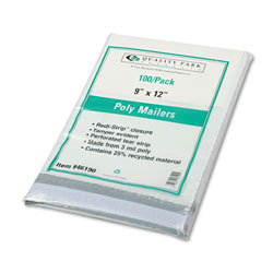 Quality Park Recycled Plain White Poly Mailers 9 x 12, 100/Pack